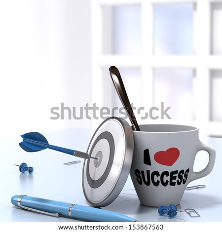 Successful Executive Concept consisting of one mug where it is written I love success and one dartboard with a dart hitting the bullseye. 3D render image