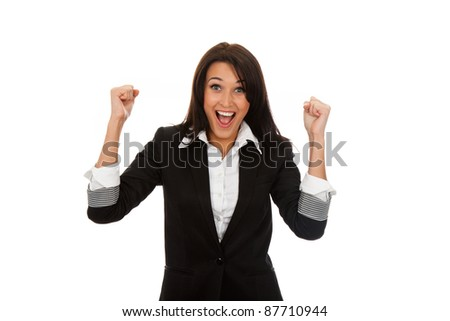 Successful executive very excited, happy smiling business woman, isolated on white background