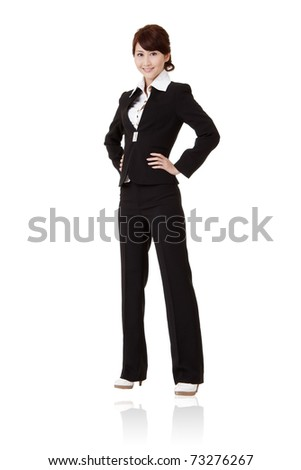 Successful executive woman  with smiling expression, full length portrait isolated on white background.