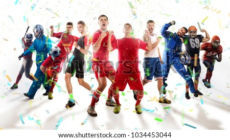 successful football, soccer, basketball, baseball, tennis players, cars, boxing fighters on professional 3D basketball court arena in lights with confetti, serpantine and smoke. collage, multi ,sport #1034453044