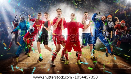 successful football, soccer, basketball, baseball, tennis players, cars, boxing fighters on professional 3D basketball court arena in lights with confetti, serpantine and smoke. collage, multi ,sport #1034457358