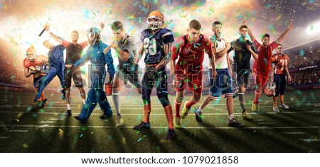 successful football, soccer, basketball, baseball, tennis players, cars, boxing fighters on professional 3D basketball court arena in lights with confetti, serpantine and smoke. collage, multi ,sport #1079021858
