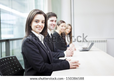 Successful group of business people at the office lined up