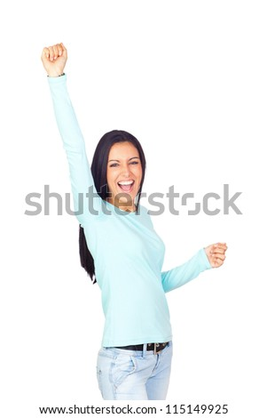 Successful Happy Young Girl Isolated on White