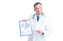 Successful hospital manager, doctor or medic showing financial charts and piechart