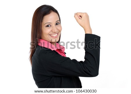 Successful Indian business woman against white background