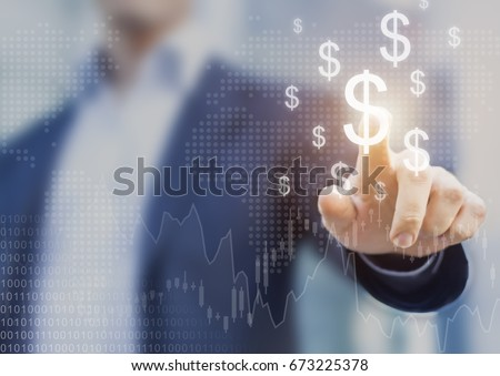Successful international financial investment concept with business person showing growth, charts and dollar sign, digital technology