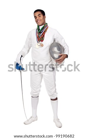 Successful male fencer with lots of medals