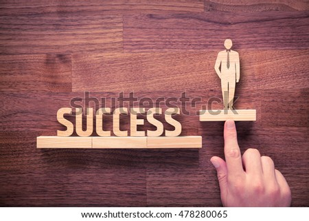 Successful manager has business success. Businessman with intuition has potential to growth. #478280065