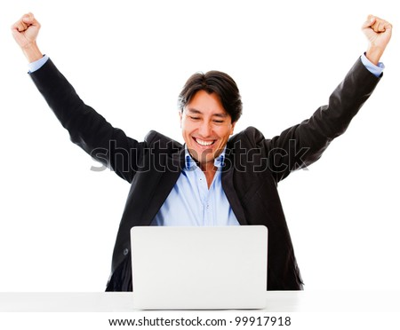 Successful online business man with laptop - isolated over a white background