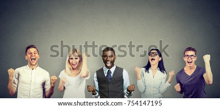 Successful people men and women are celebrating a victory