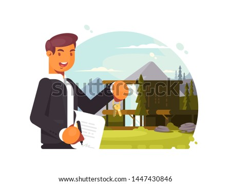Successful realtor with keys and contract sells property. illustration