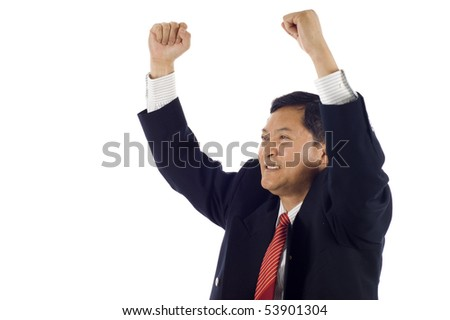 Successful Senior Asian business man celebrating success isolated over white background