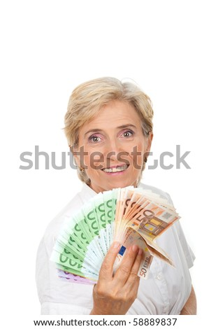 Successful senior woman holding  a group of money and smiling isolated on white background,copy space for text message