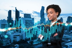 Successful smiling attractive black woman trader suggesting a new strategy of investment in stocks to grow client income. Woman in business concept. Forex chart. Bangkok. Double exposure.