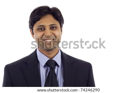 Successful smiling young Indian business man isolated over white background