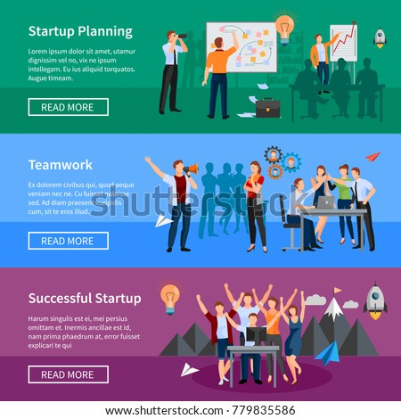 Successful startup 3 flat horizontal banners webpage design with innovative product planning and teamwork isolated