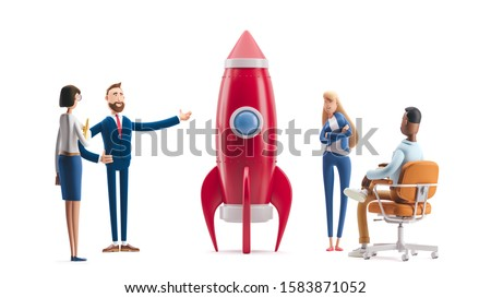 Successful startup rocket. 3d illustration.  Cartoon characters. Team developing an innovative product.