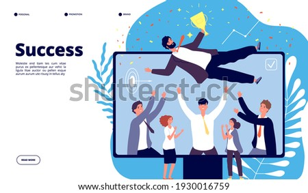 Successful team. Businessmen group employees throw happy colleague up in air. People celebrating victory, happy manager landing page