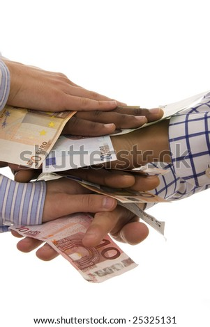 Successful teamwork - multiracial hands with euro banknotes isolated on white