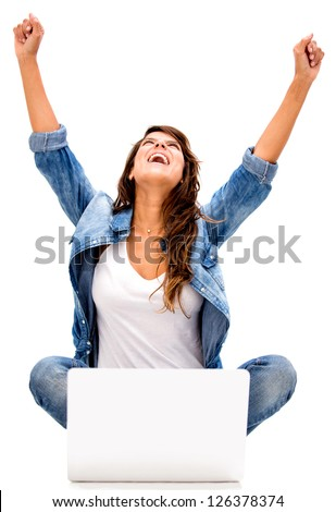 Successful woman online - isolated over a white background