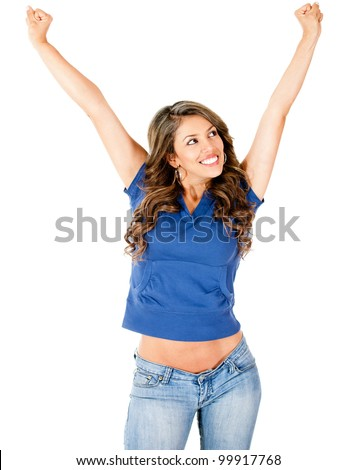 Successful woman with arms up - isolated over a white background