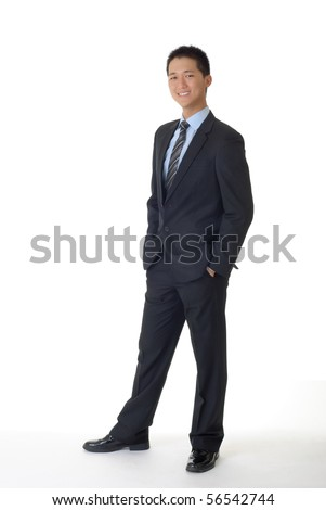 Successful young business man of Asian, full length portrait isolated on white.