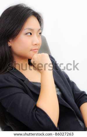 Successful young business woman isolate on white background