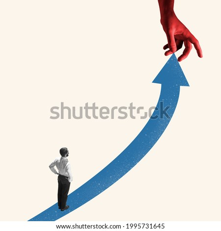 Successful young businessman running up the arrow, path to success and goal. Creative art collage. Man isolated on blue. Concept of finance, economy, professional occupation, business and career.