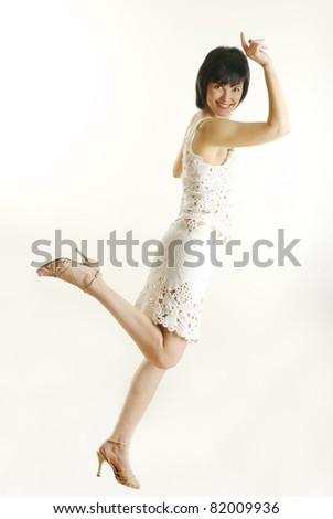 Successful young woman . Isolated full body image on white background.