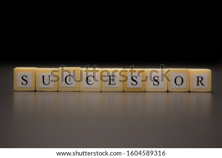 SUCCESSOR written on wooden cubes isolated on a black background... Stock photo ©