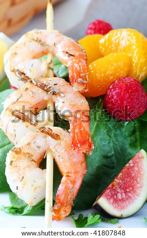 succulent shrimp shish kebab
