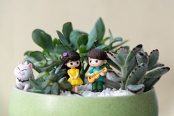 Succulents and mini-sculptures cat, of a girl and a boy in love. The boy performs a musical composition for his beloved on the guitar.  Valentine's day. International cat day.