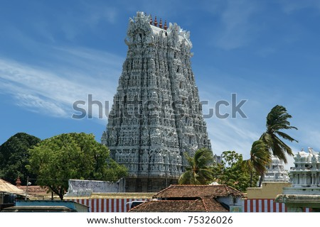 Suchindram temple dedicated to the gods Shiva, Vishnu and Brahma, protected by UNESCO. Kanniyakumari, Tamil Nadu, South India