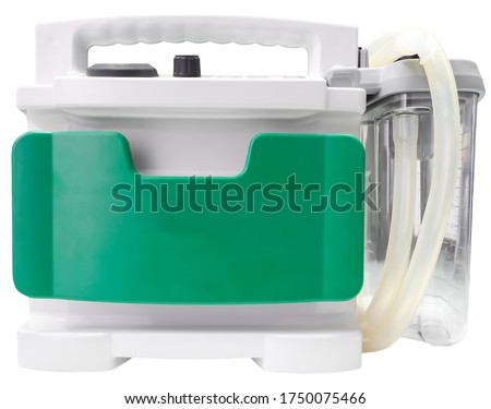 Suction machine, gray-green color Placed on a white background, taken on the front, put on the clipping path concept, life-saving equipment, emergency, doctor tools Foto stock ©