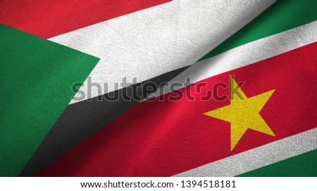 Sudan and Suriname two flags textile cloth, fabric texture #1394518181