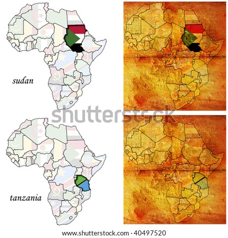 sudan&tanzania on two kinds of africa map