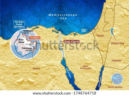 Suez Canal Waterway Connecting the Mediterranean Sea to the Red Sea Map, 3D illustration Foto stock ©
