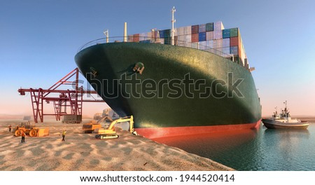 Suez waterway blockage. Effort to refloat wedged container cargo ship. Cargo vessels maritime traffic jam grows in Suez canal. Ever given grounding and stuck in Suez Canal trade artery 3D illustration
