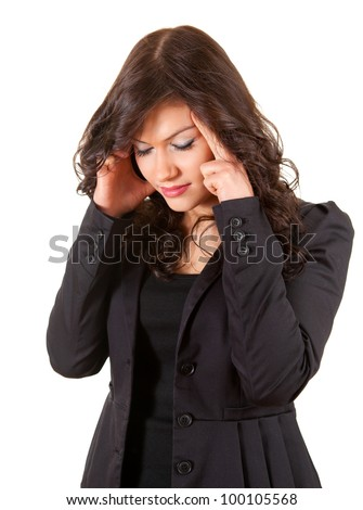 suffering from pain - businesswoman with headache, white background