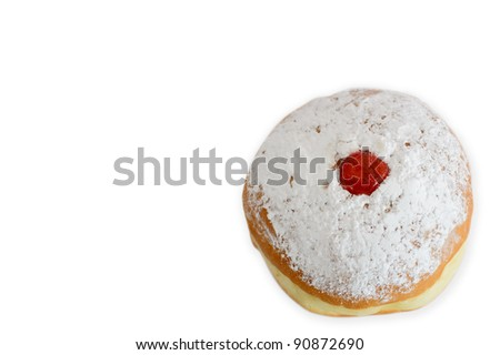 Sufganiyah (doughnut) isolated on a white background for the Jewish holiday of Hanukkah.