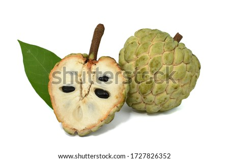 Sugar Apple fruit with half isolated on white background