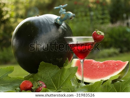 Sugar Baby Watermelon with spout for a concept of pouring out ice cold watermelon beverage.