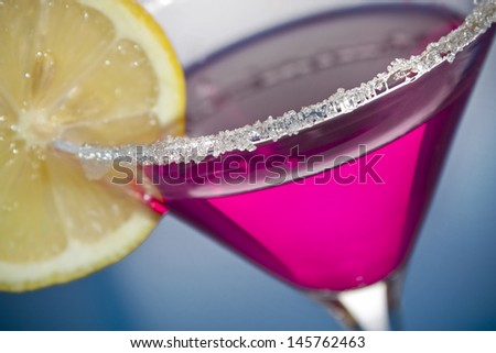 Sugar coated pink martini with lemon