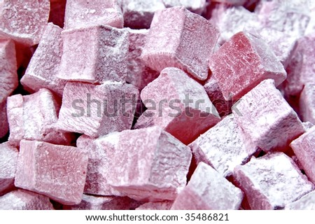 Sugar coated soft candy cubes most famous as Turkish Delight