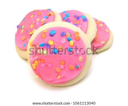 Sugar Cookie With Sprinkles Isolated On White #1061113040