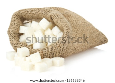 sugar cubes in bag sack isolated on white background