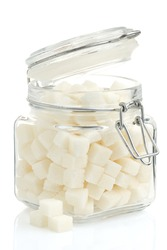 sugar cubes in pot isolated on white background