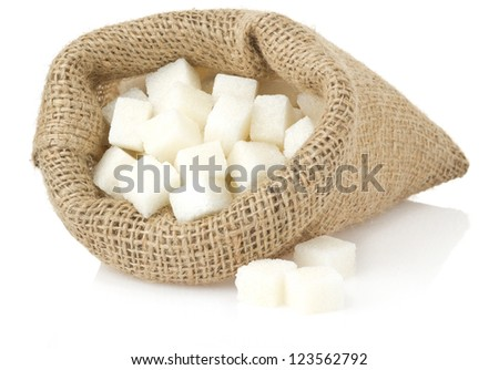 sugar cubes isolated on white background