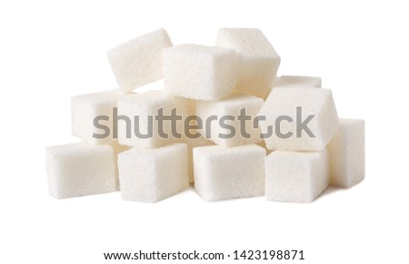 Sugar cubes isolated on white background.